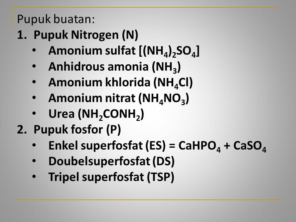 Pupuk buatan: Pupuk Nitrogen (N) Amonium sulfat [(NH4)2SO4] Anhidrous amonia (NH3) Amonium khlorida (NH4Cl)